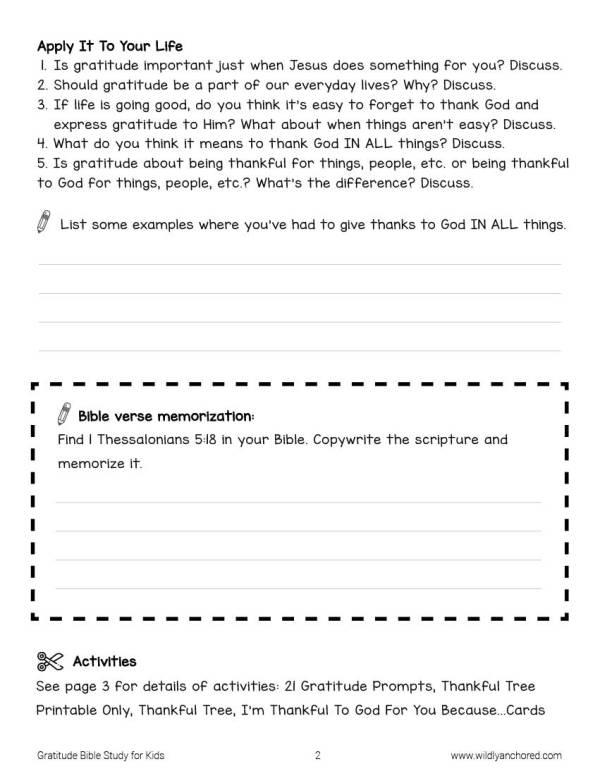 Gratitude Bible Study For Kids