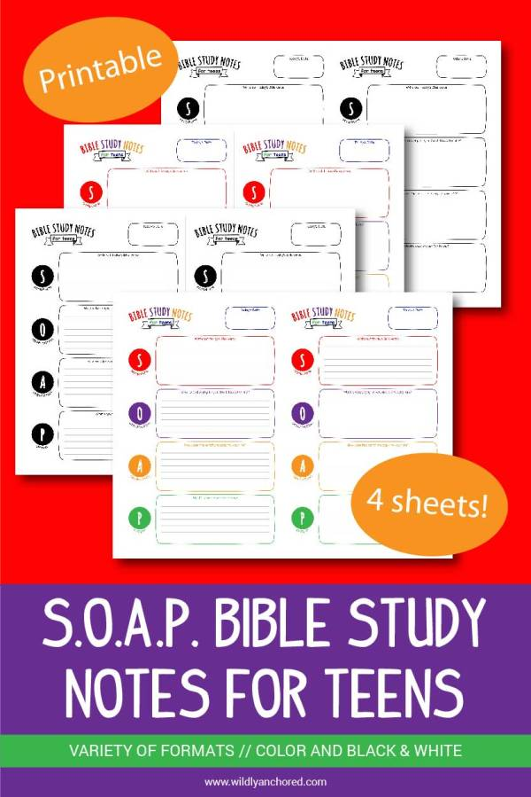 S.O.A.P. Bible Study Notes for Teens Printable