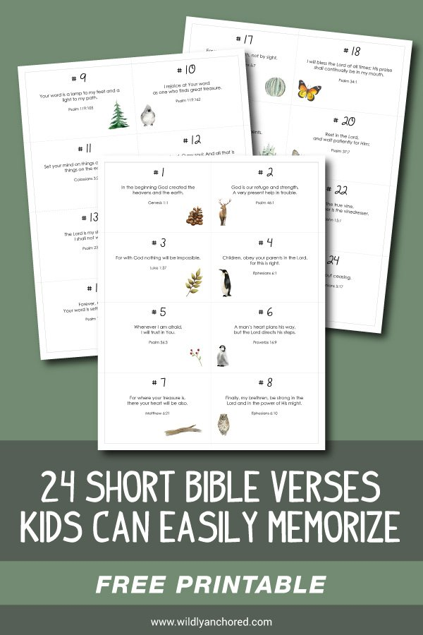 24 Short Bible Verses Kids Can Easily Memorize + FREE Printable Scripture Cards