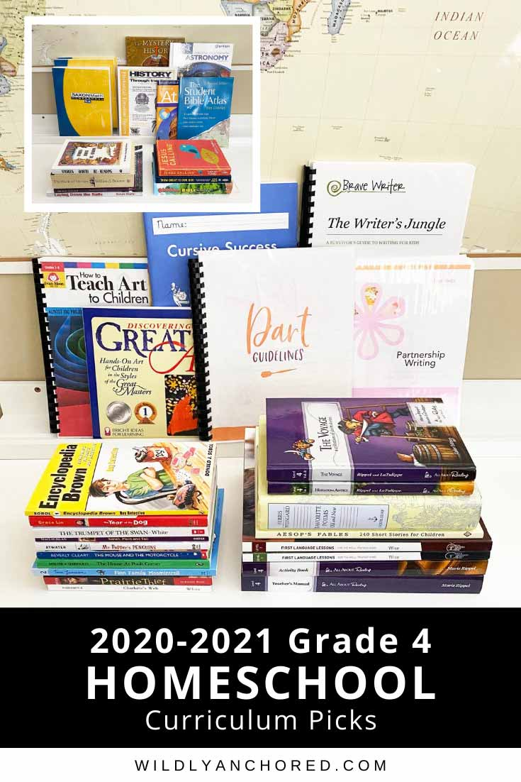 Check out our 2020-2021 grade 4 homeschool curriculum picks! We'll be doing All About Reading, Brave Writer, Mystery of History, Saxon Math and more!