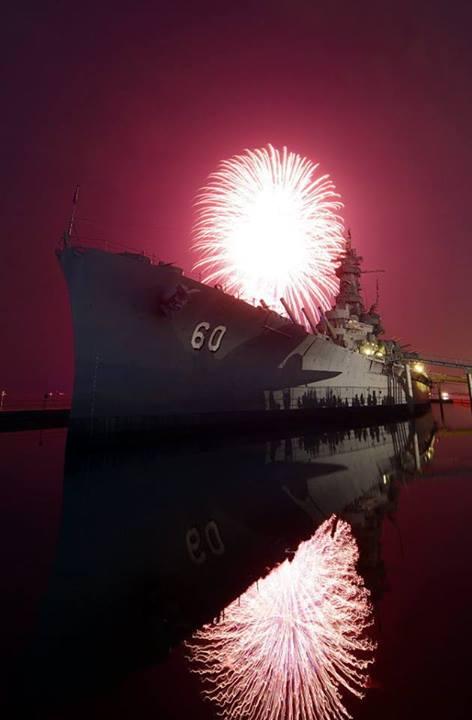 4th of July Fireworks over USS Battleship