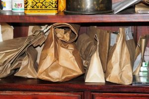 herbs in paper bags