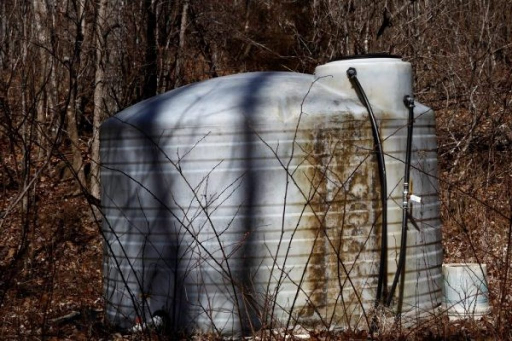When you rely on a spring for water, you need a tank. This is our 1500 gallon water collection tank.