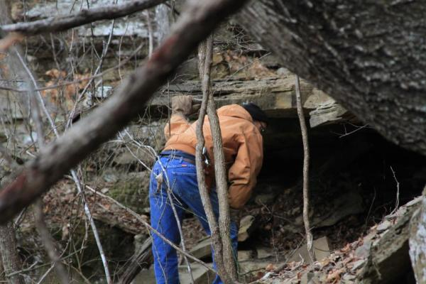 Looking for critters in our Wild Ozark bluff