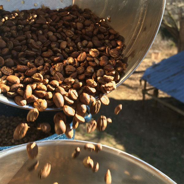 Our coffee is roasted outdoors and winnowed in the wind.