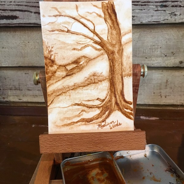 An entire painting done with a watercolor paint made from our local sandstone.