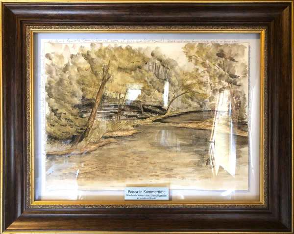 Ponca in Summertime, an original watercolor in Ozark pigments by Madison Woods.
