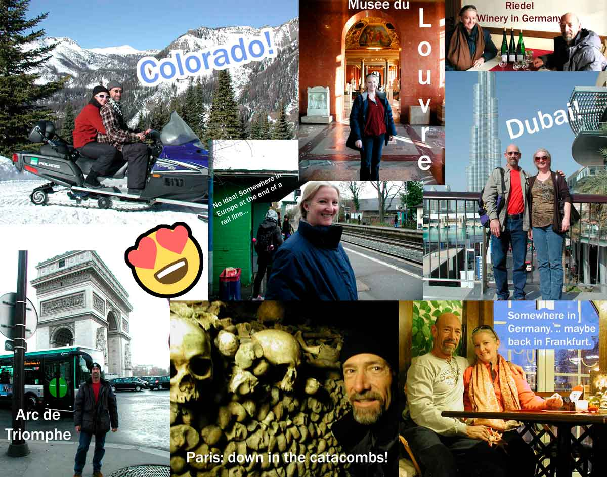 A collage of our travels around the world. Not so much a hermit then, was I?