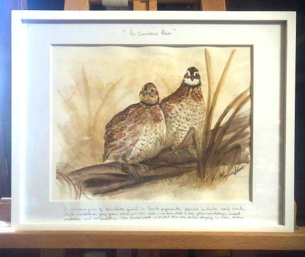 A Curious Pair, framed. All Ozark pigments.