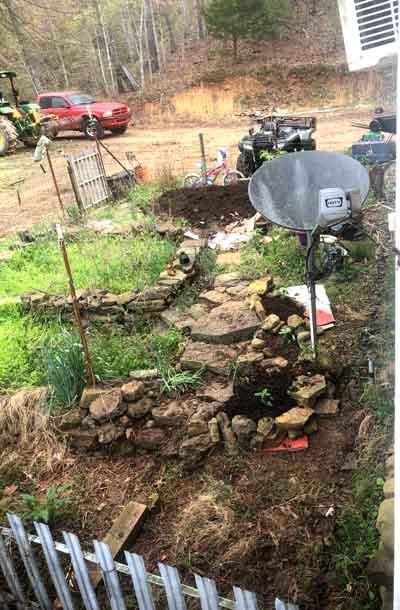 My poor terraced garden, finally getting weeded.