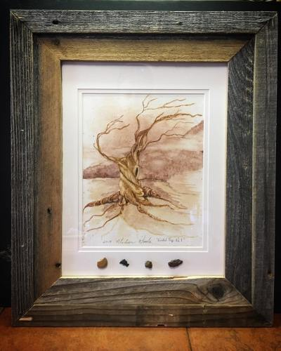 Old Man, framed in old barnwood with rock samples.