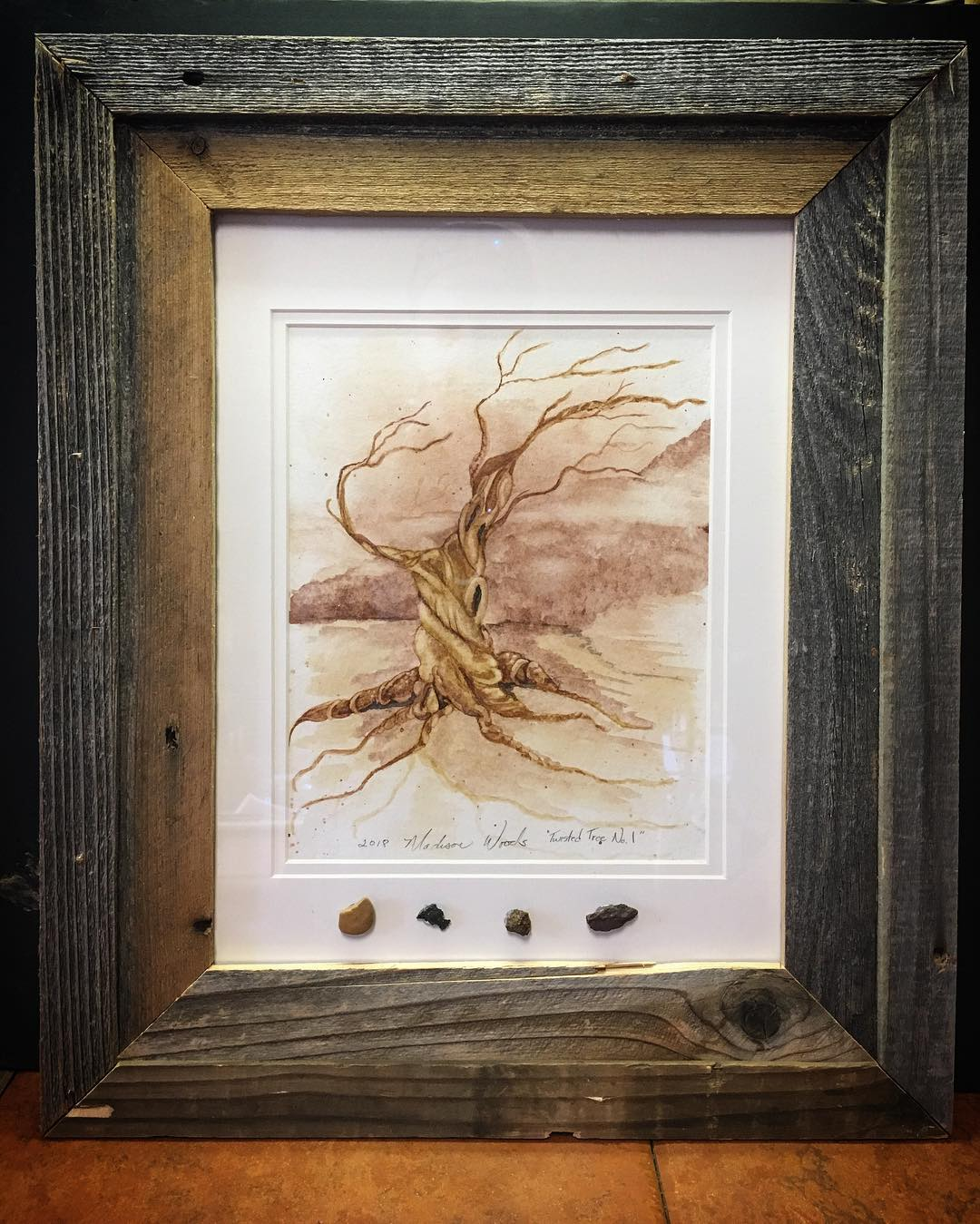 Not a monochrome, but a twisted tree framed with rock pigment samples.