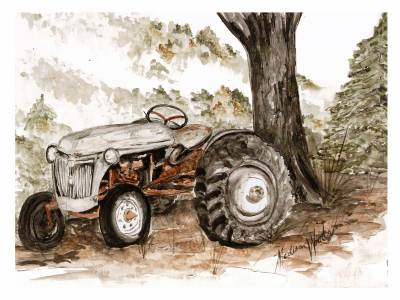 A palette of earthy colors worked well for this old tractor.