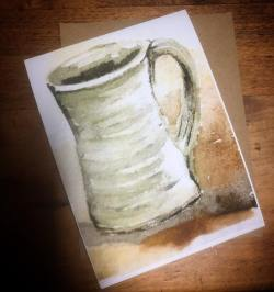 A notecard with envelope featuring 'Coffeetime' by Madison Woods.