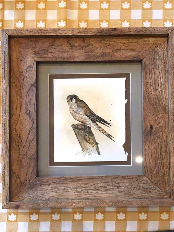 The first work of art I'd ever sold was this Kestrel No. 3. This gorgeous frame was handmade from distressed pecan by Karl Boutte in Kingston, Arkansas.
