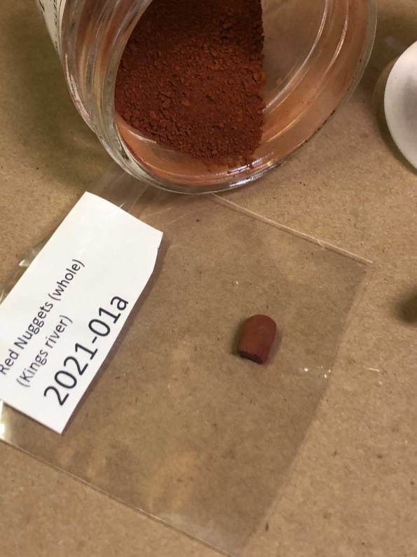 One of the red earth ochre pigments in Soul of the Ozarks collection no. 2021-07.
