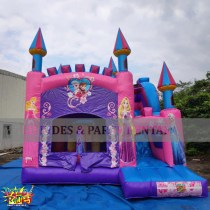 Nice three (3) in one Princess Bouncer with, Mini Rock Climb and Dry Slide, suitable for house parties and fun days. Size is 16'L x 16'W x 12'H and has a weight capacity of up to 500lbs at a time. Suitable for toddlers up to age 13.
