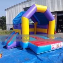 This Mini Rainbow Bouncer w Dry Slide is fun and ideal for house parties using limited space. Size is 12'L x 12'W x 10'H and has a weight capacity of up to 400lbs at a time. Suitable for toddlers up to age 12.