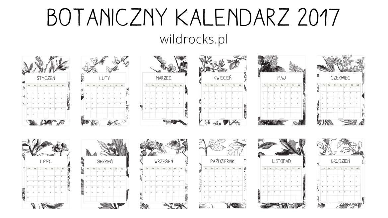 kalendarz z roslinnym motywem do wydrukowania wild rocks