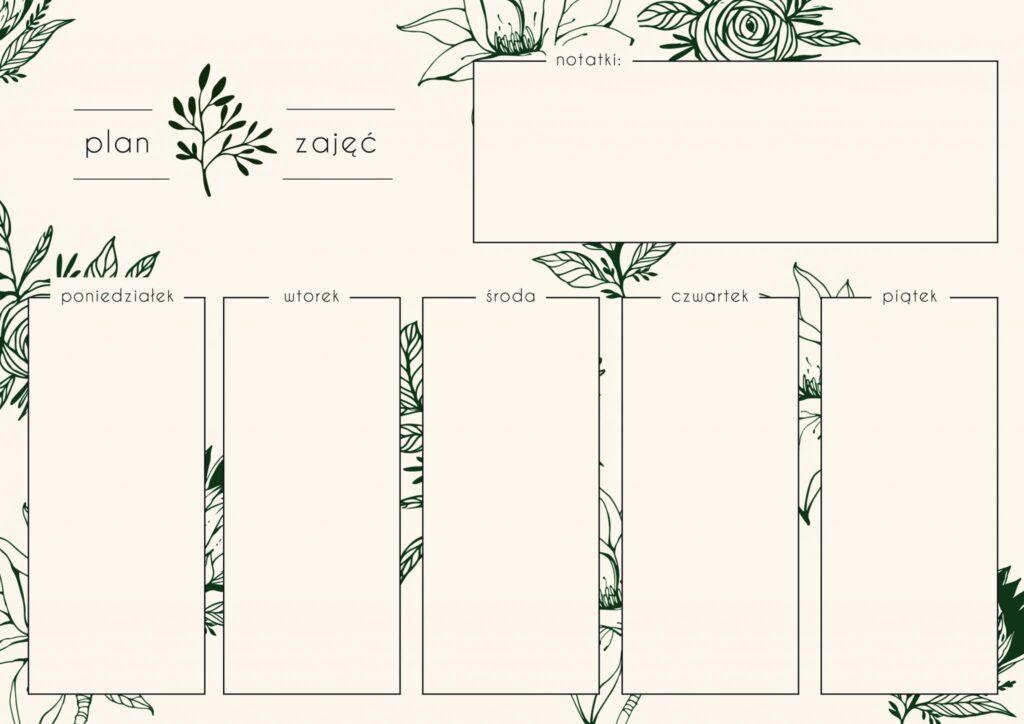 Botaniczny plan zajęć do szkoły i na studia