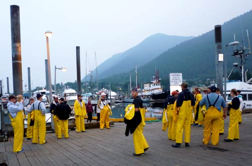 Group On Dock in Sitka, Alaska