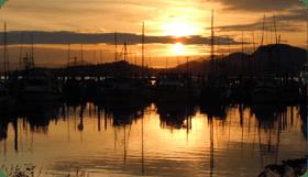 Sunset in Eliason Harbor in Sitka, Alaskas