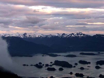 Sunset From Mountain Top in Sitka