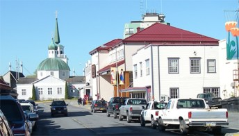 Behind St. Michael's Cathedral in downtown Sitka