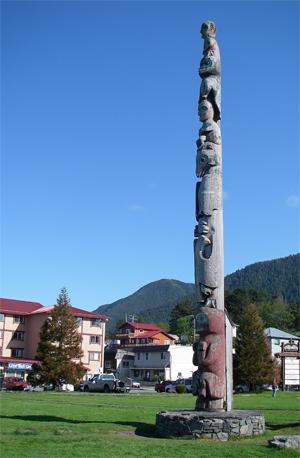 Totem Pole in Totem Square adjacent to downtown Sitka, Alaska