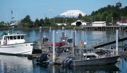 View of Mt. Edgecumbe from Sitka's Eliason Harbor