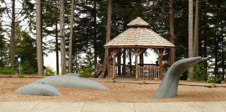Photo of the whale statue in Whale Park in Sitka, Alaska. A great place to learn about and view whales in the harbor