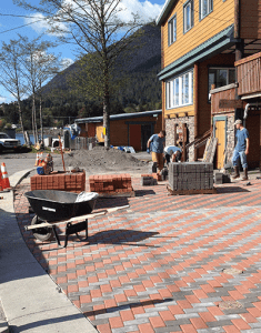 brick paver parking lot across the whole front of the lodge complex