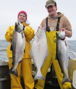 Ina Mae And Martin Holding King Salmon And Halibut