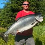 7-30-21 Captain Greg produces a 54 lb King Salmon on the Triple Play!