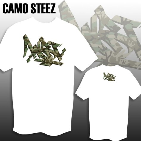 WST Camo Steez print on White Tee