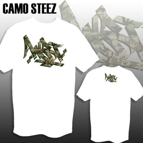 WST Camo Steez print on White Tee