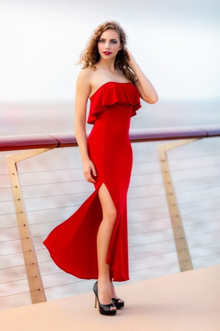 Havana Long Dress in Red