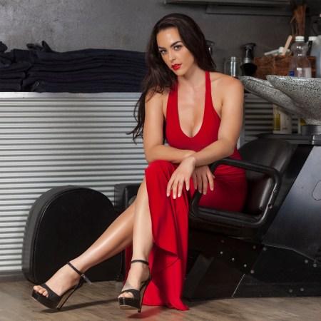 Juno Havana Long Fitted Dress in Red