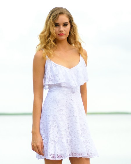 Seychelles Rose Dress in White Lace