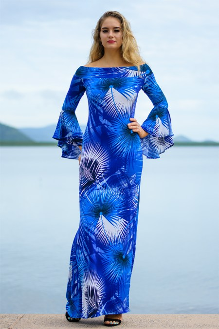 La Vita e Bella Long Dress in Blue Palms