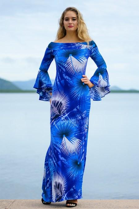 La Vita e Bella Long Dress in Blue Palms
