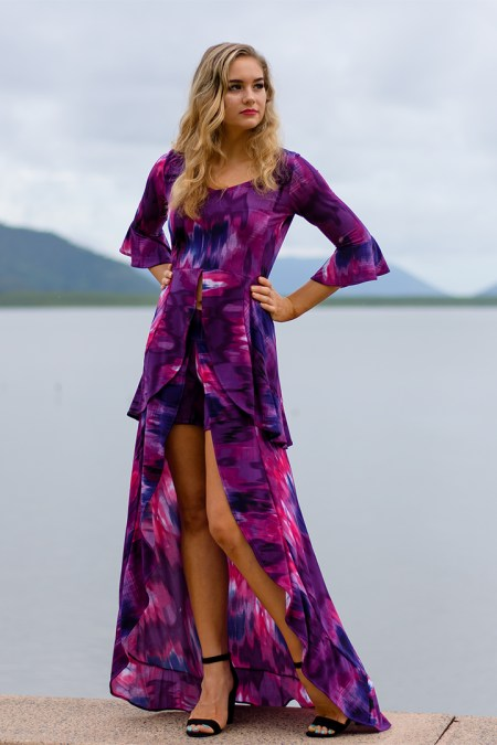 Bella Donna Top and Skorts in Abstract Purple Sky