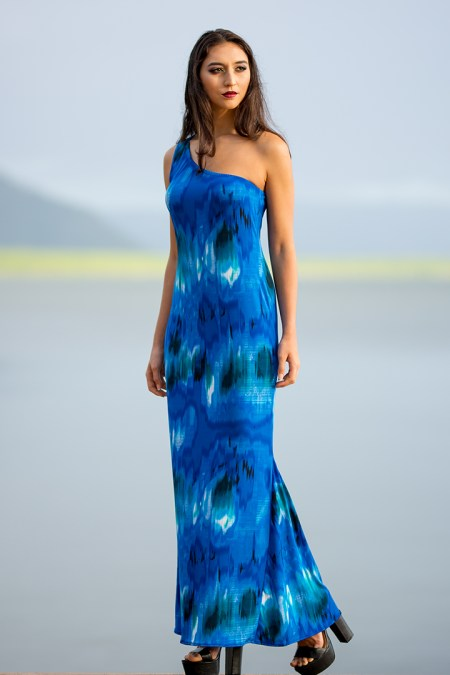 One Shoulder Dolphin Dress in Abstract Blue Sky