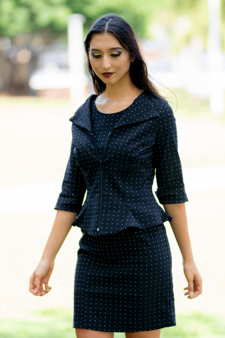 Flirty Jacket with Three Quarter Sleeves, Flirty Top and Panel Skirt in Diamonds