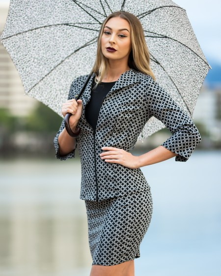 Panel Jacket with Three Quarter Sleeves and Panel Skirt in Silver Matrix
