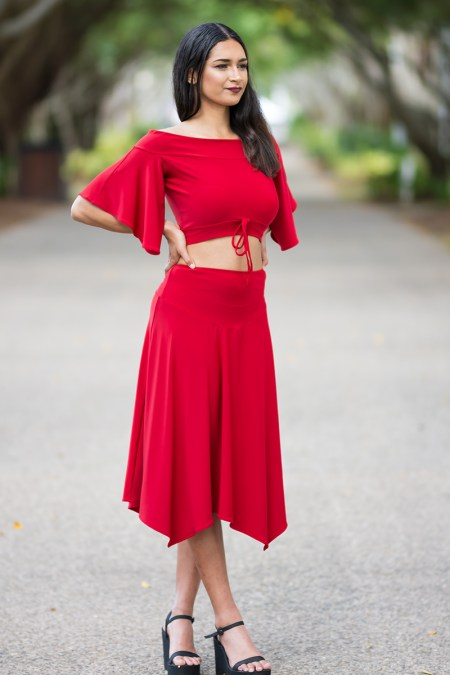 Ellipse Butterfly Crop Top and Gypsy Europa Skirt in Red