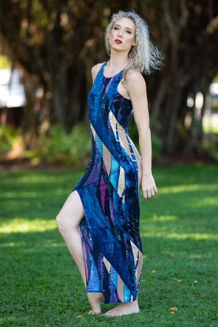 Long Illusion Dress in Midnight Beach