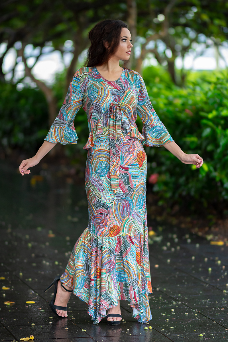 """Bella Donna Cardigan in Messina. A simple tie top that adds just that little extra bit of something special to any outfit. This cardigan is made ina soft, silky and light Japanese viscose fabric with intricate details named """"Messina"""". Absolutely divine paired with a Phoenix Mermaid Dress in the same fabric."""