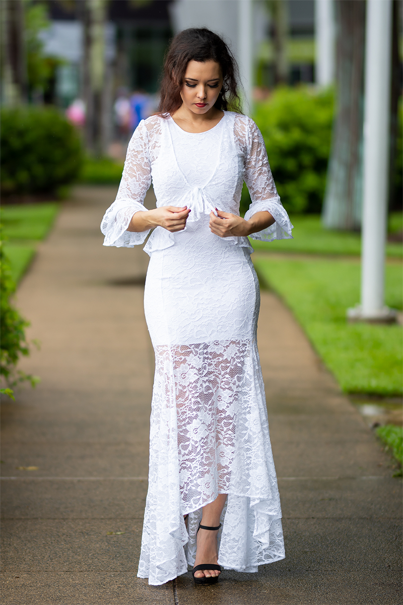 Bella Mermaid Dress and Bella Donna Cardigan in White Lace