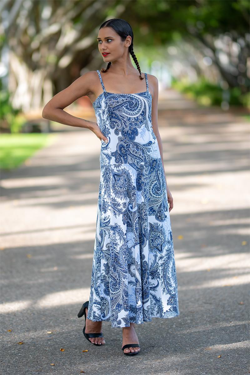 Birdwing Maxi Dress in Silver Paisley